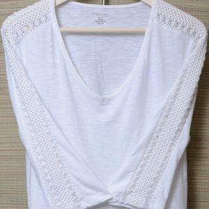 *Sonoma*Shirt*White*Crochet Sleeves XL 100% Cotton